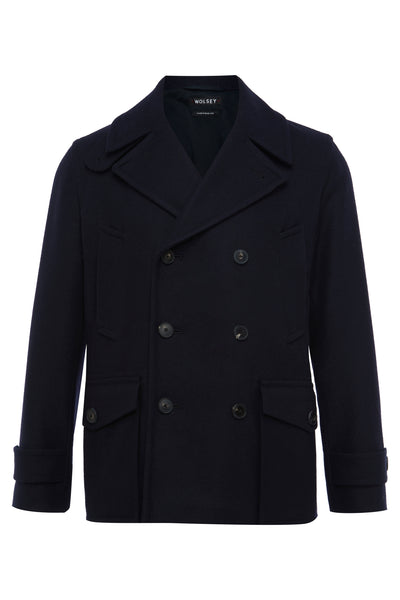 Navy Double Breasted Wool Pea Coat