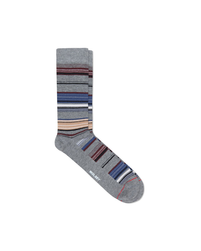 Mid Grey Cotton Blend Fine Stripe Sock