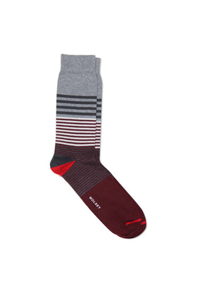 Mid Grey Cotton Blend Multi Stripe Sock