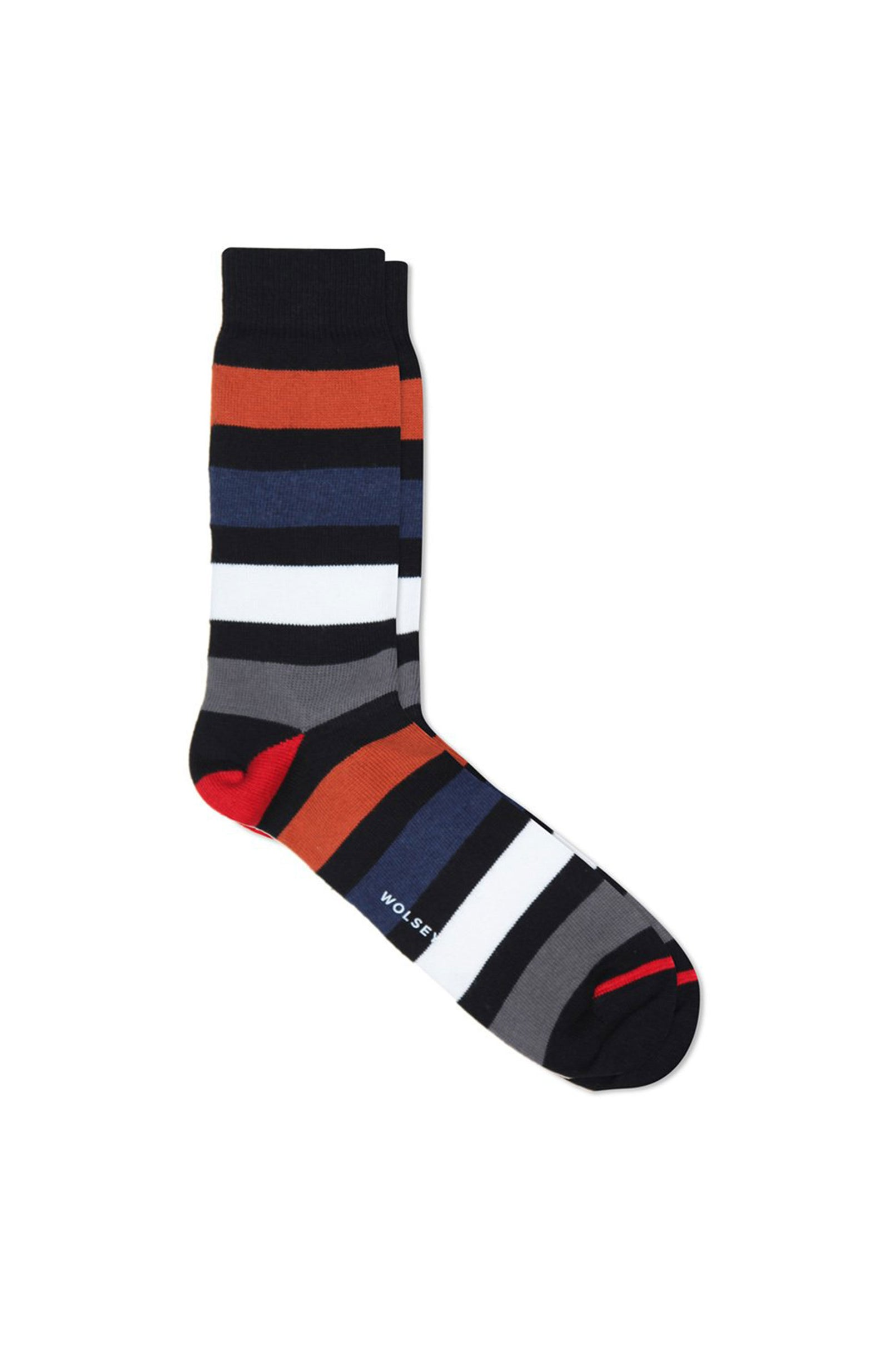 Black Cotton Blend Block Stripe Sock
