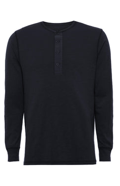 NAVY SLUB COTTON HENLEY