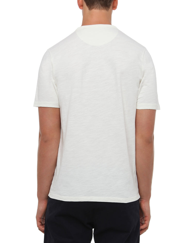 Off White Slub Cotton T-Shirt