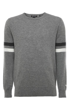 GREY MELANGE SLEEVE STRIPE SWEATER