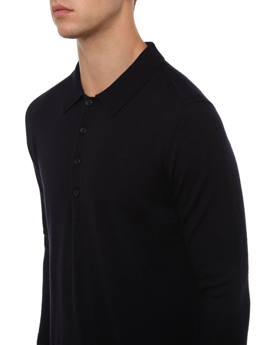 NAVY MERINO LONG SLEEVE KNIT POLO