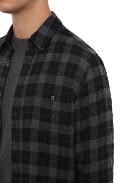 CHARCOAL MONOCHROME CHECK SHIRT
