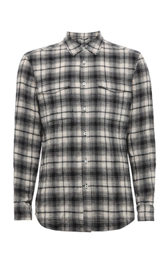 BLACK UTILITY POCKET PLAID SHIRT