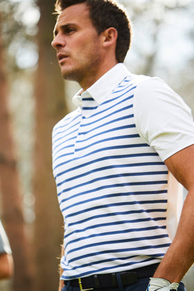 White Stripe Front Polo