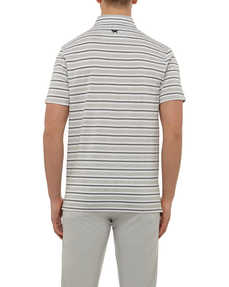 Grey Melange Stripe Button Down Polo