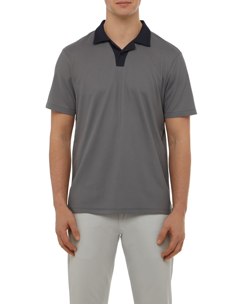 Grey Melange Johnny Collar Polo