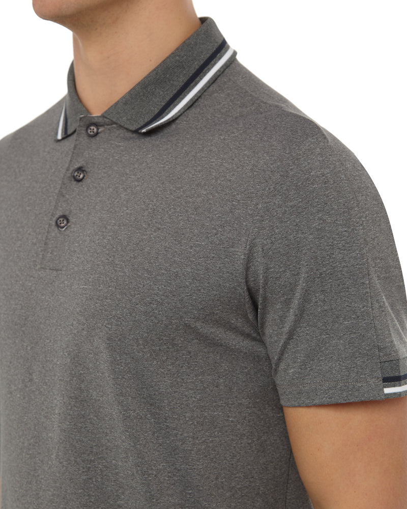 Grey Melange Tipping Polo
