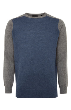 Grey Melange Contrast Panel Sweater
