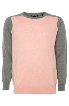 Pink Contrast Panel Sweater