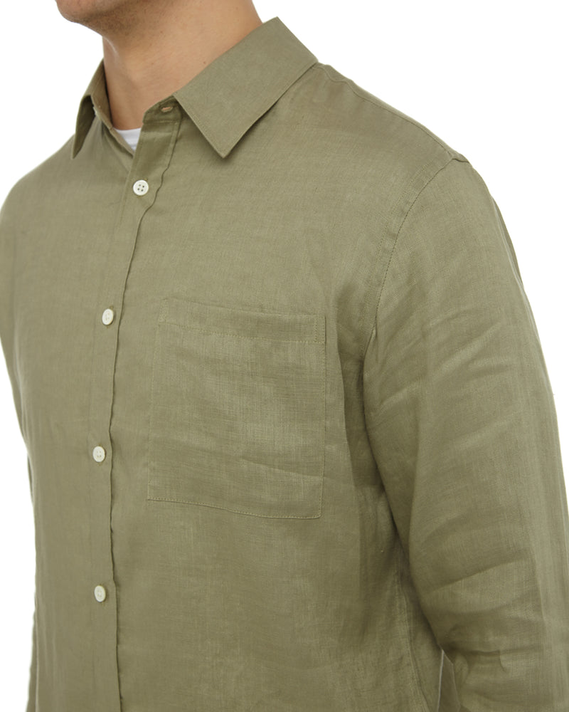 Light Olive Garment Dyed Linen Shirt