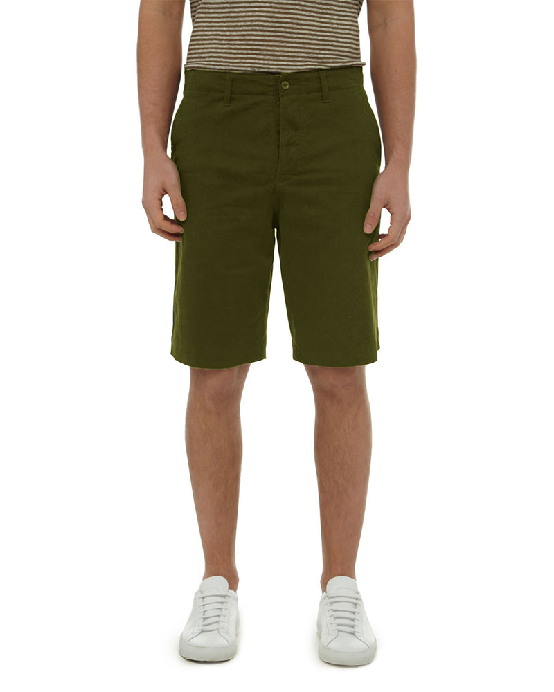 Olive Garment Dyed Stretch Twill Short
