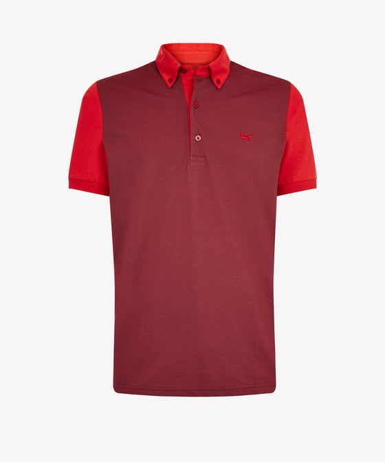 CHILLI PEPPER THREE BUTTON MIXED FABRIC PIQUE POLO SHIRT