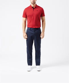 CHILLI PEPPER TEXTURED STRIPE TWO BUTTON PIQUE POLO SHIRT