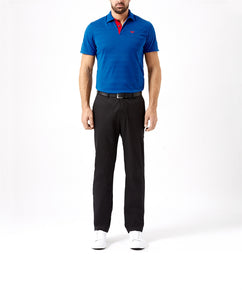 SNORKEL BLUE TEXTURED STRIPE TWO BUTTON PIQUE POLO SHIRT