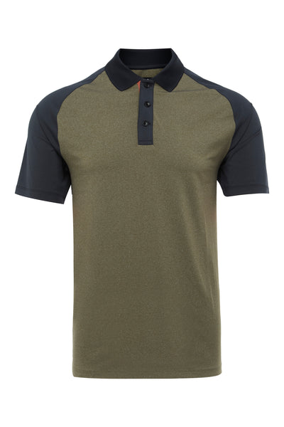 MILITARY TEMPERATURE REGULATING BLOCK RAGLAN POLO SHIRT