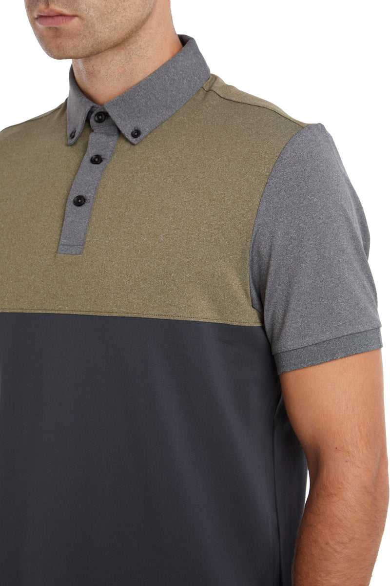 Military Colour Block Temperature Regulating Polo Shirt