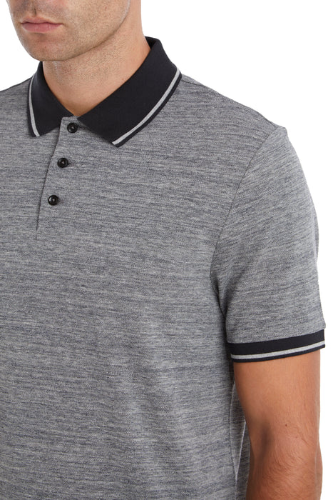 BLACK MARL PIQUE TEMPERATURE REGULATING POLO SHIRT