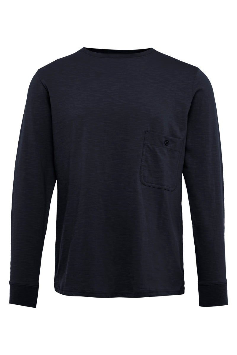Navy Long Sleeve Cotton T-Shirt