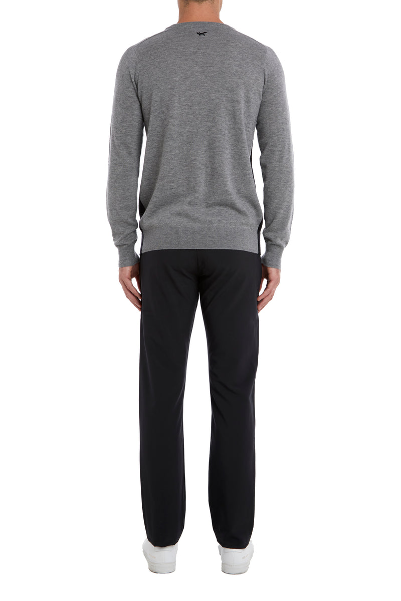 Black Crew Neck Sweater In Merino Wool