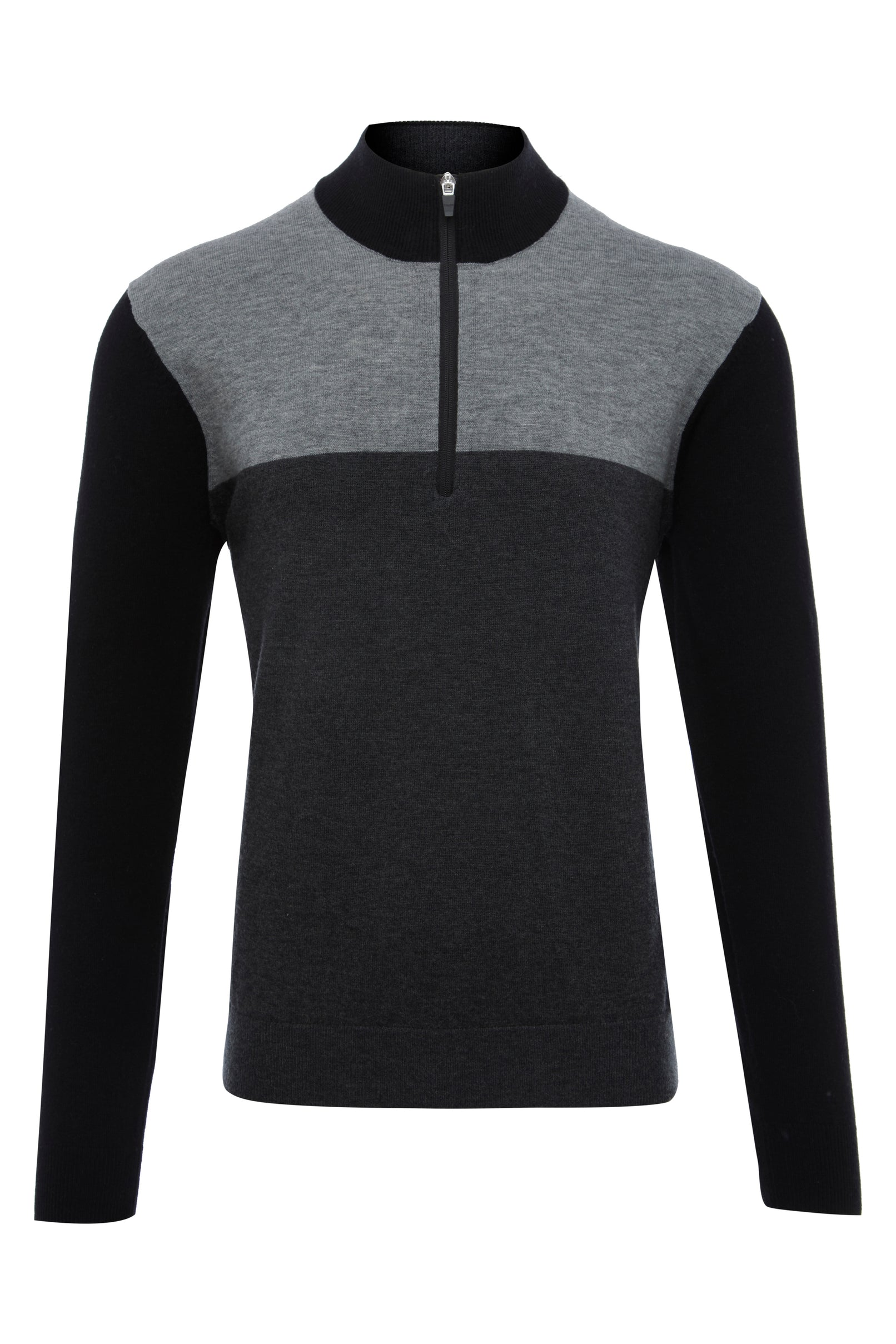 BLACK COLOUR BLOCK 1/4 ZIP SWEATER