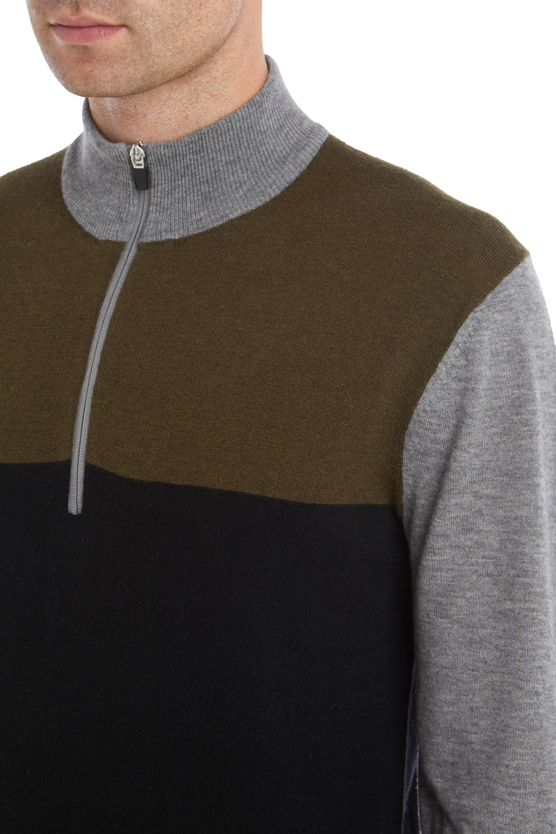 Military Colour Block 1/4 Zip Sweater