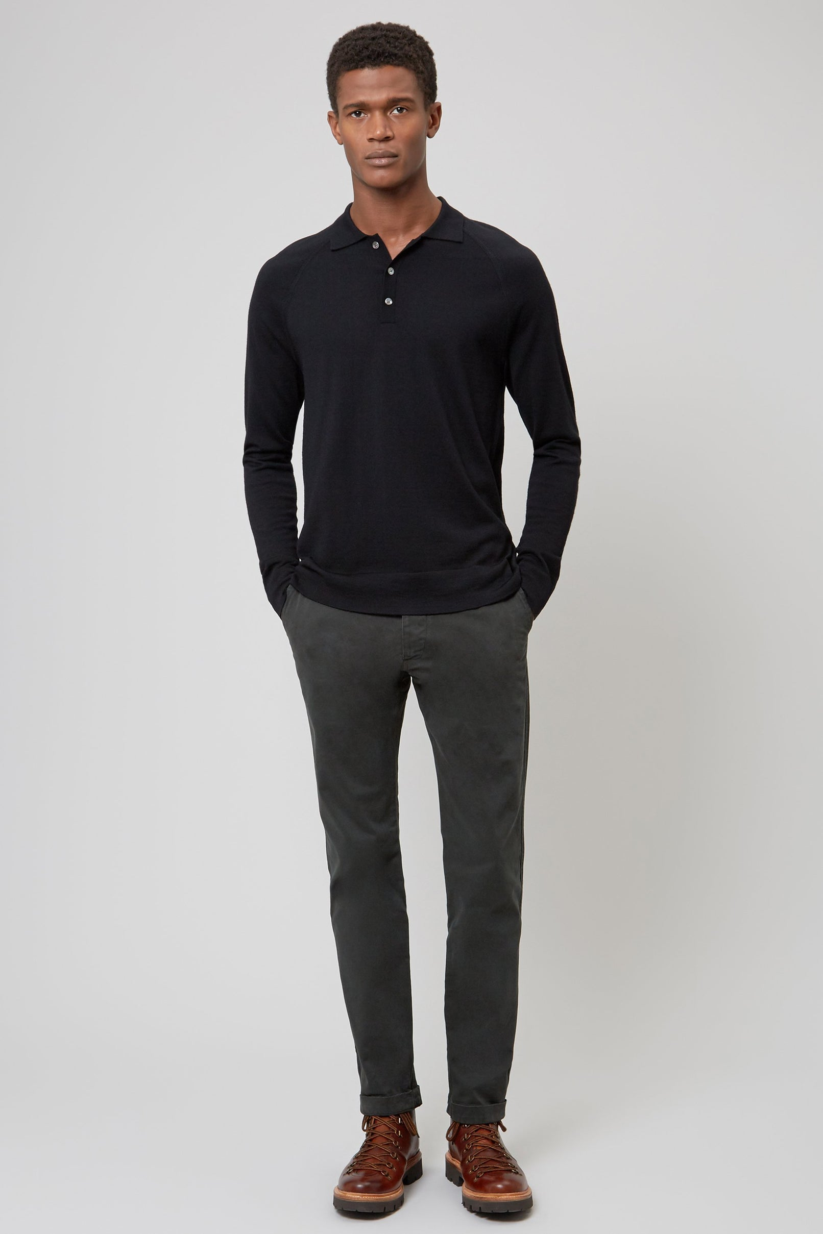 Black Merino Wool Raglan Polo