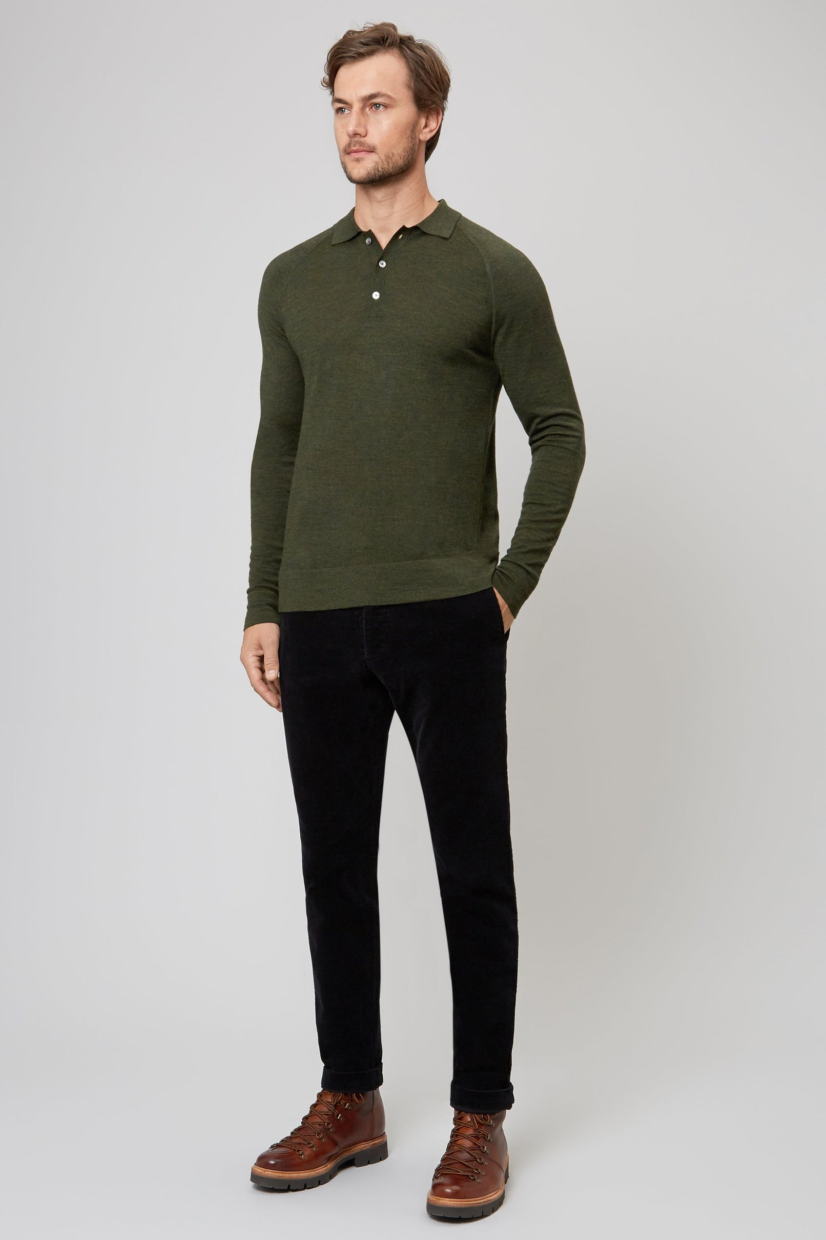 MILITARY MERINO WOOL RAGLAN POLO