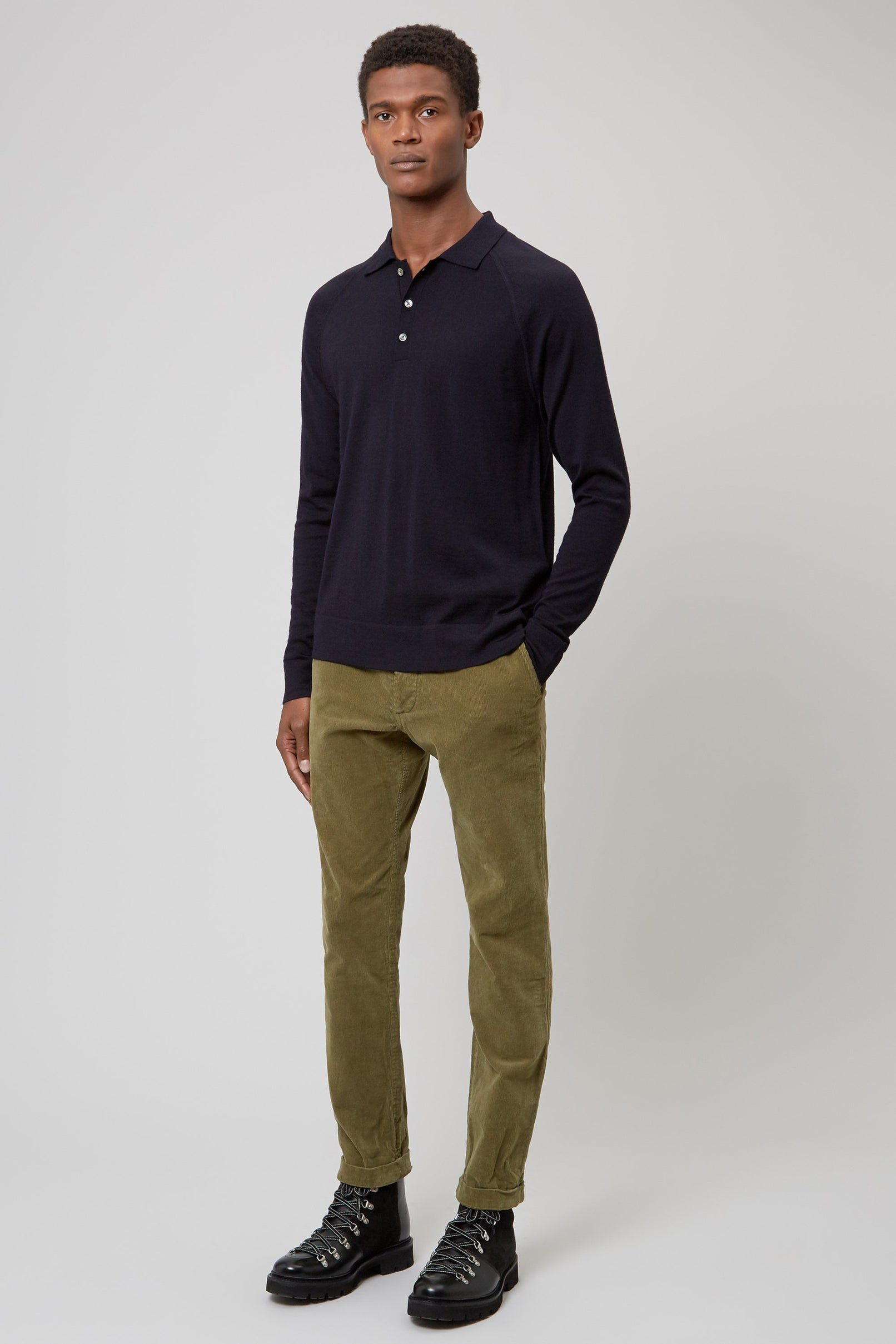 Navy Merino Wool Raglan Polo