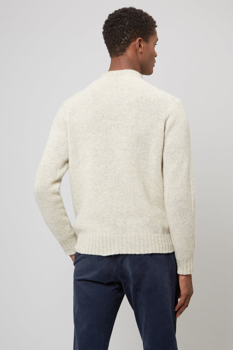 OATMEAL FUNNEL NECK RAGLAN SWEATER