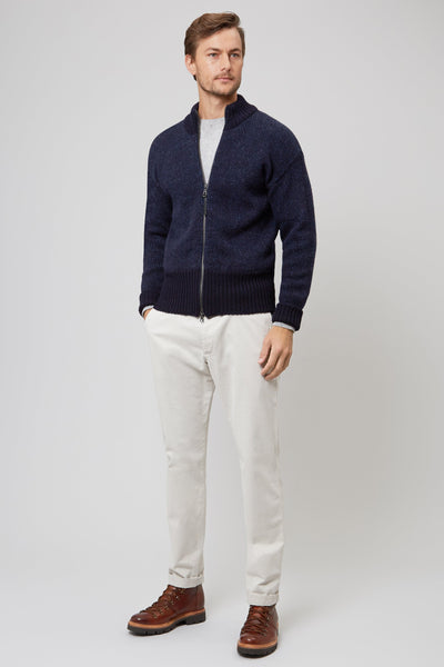 NAVY ZIP THROUGH CARDIGAN