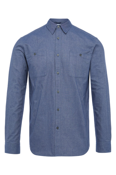 Slate Blue Flannel utility Shirt