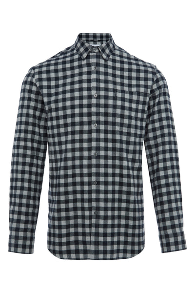 GREY CHECKERBOARD LINEN FLANNEL SHIRT