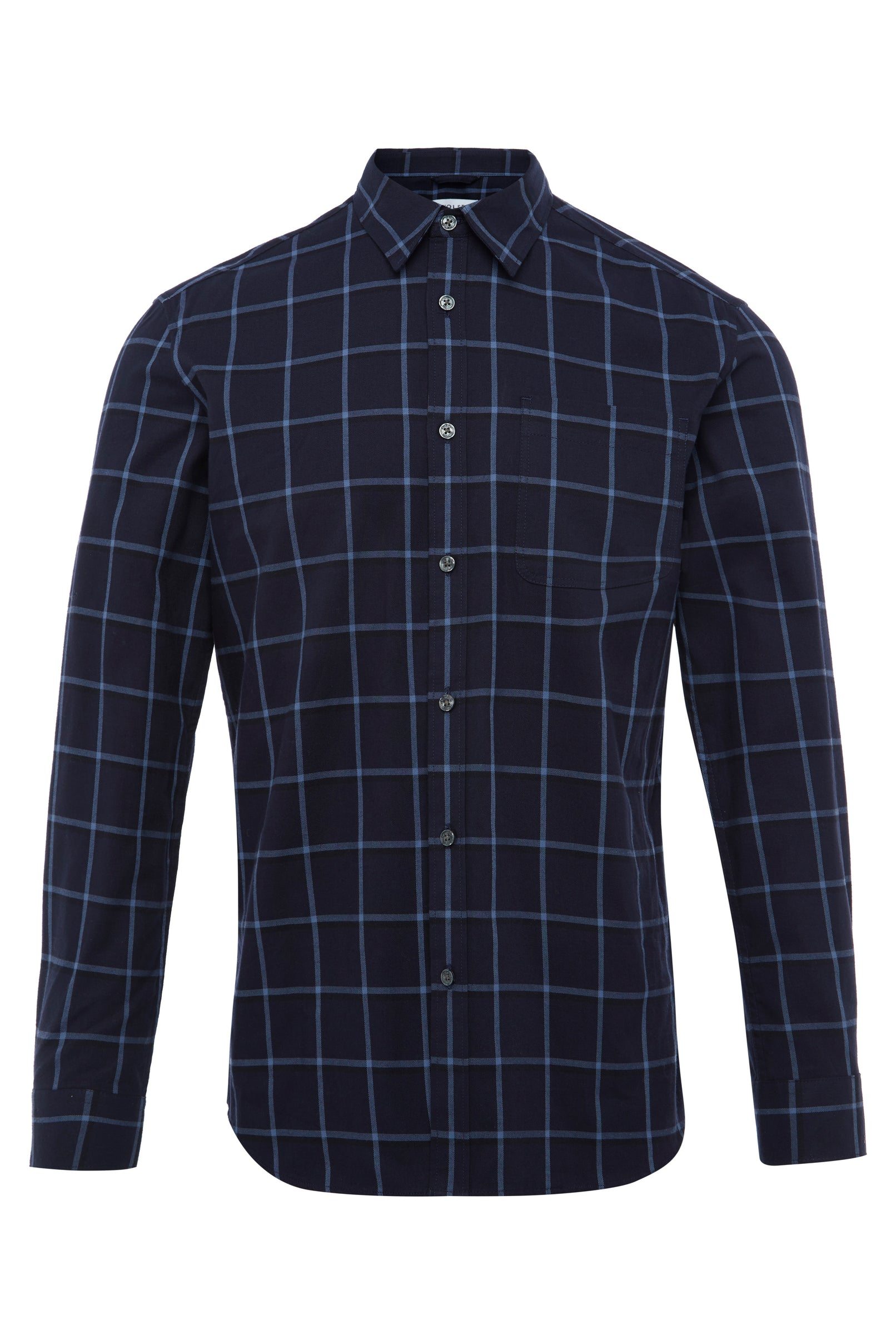 NAVY BRUSHED SHADOW GRID CHECK SHIRT