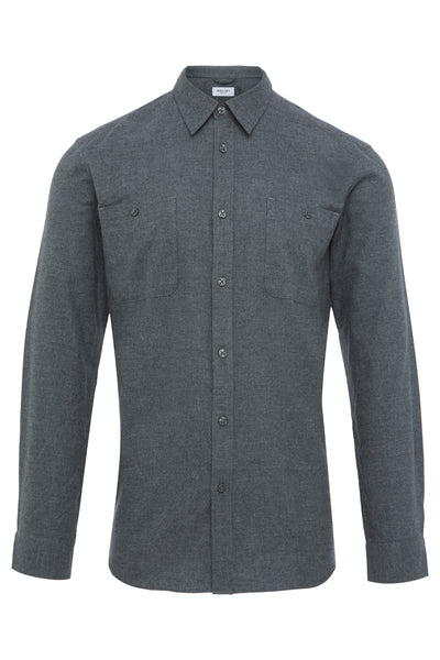 GREY MICRO STRIPE FLANNEL SHIRT