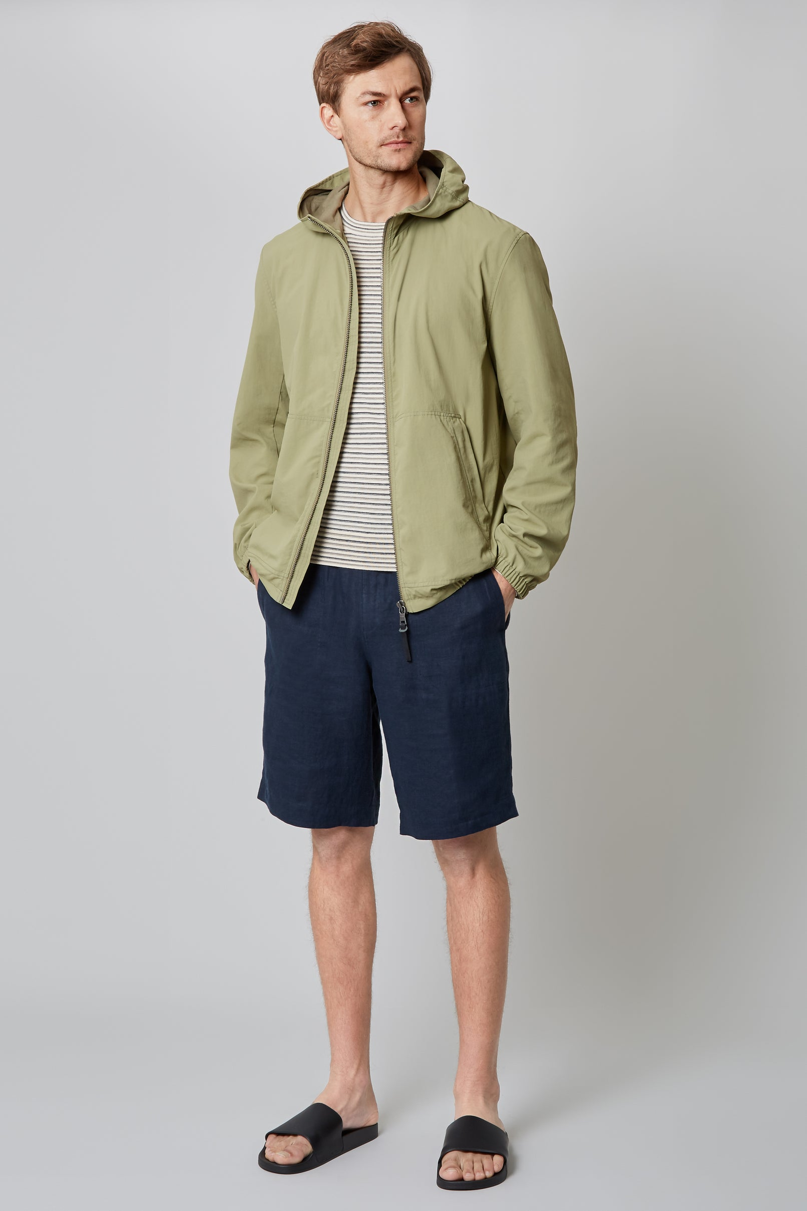 Green Hooded Windbreaker