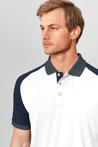 White Raglan Colour Block Polo