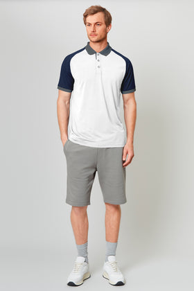 White Raglan Polo