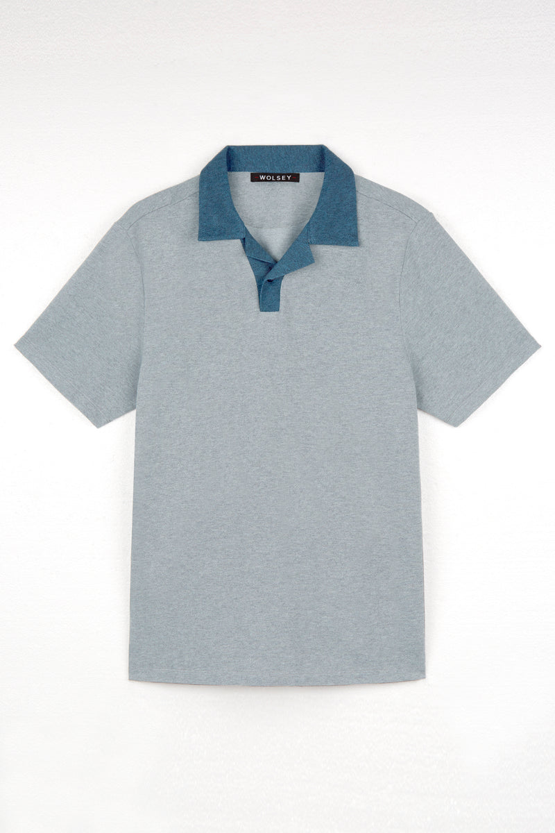 Grey Marl Johnny Collar