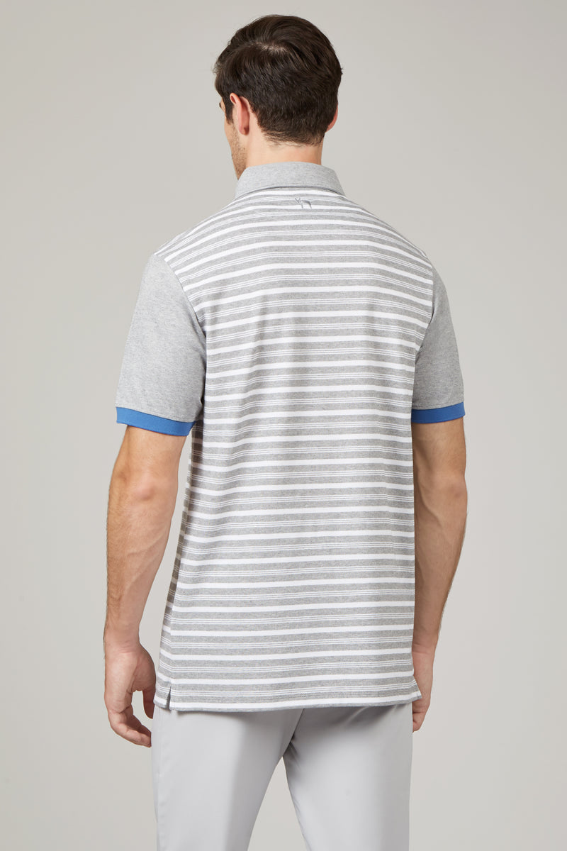 White/Grey MelangeMacro Stripe Polo