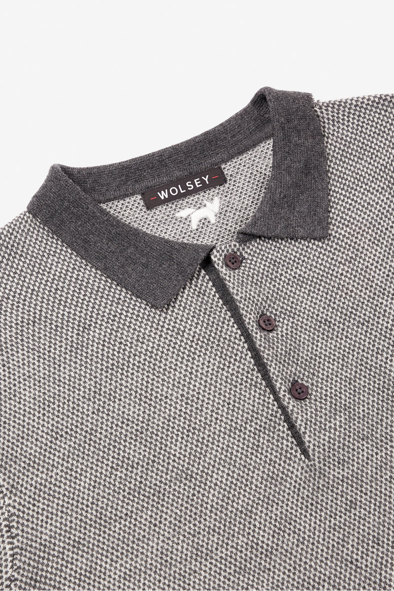 Grey Heathered Twist Polo