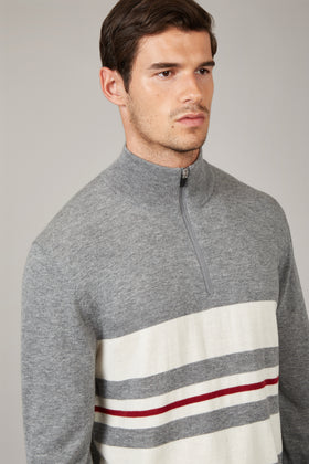 Grey Melange Chest Stripe 1/4
