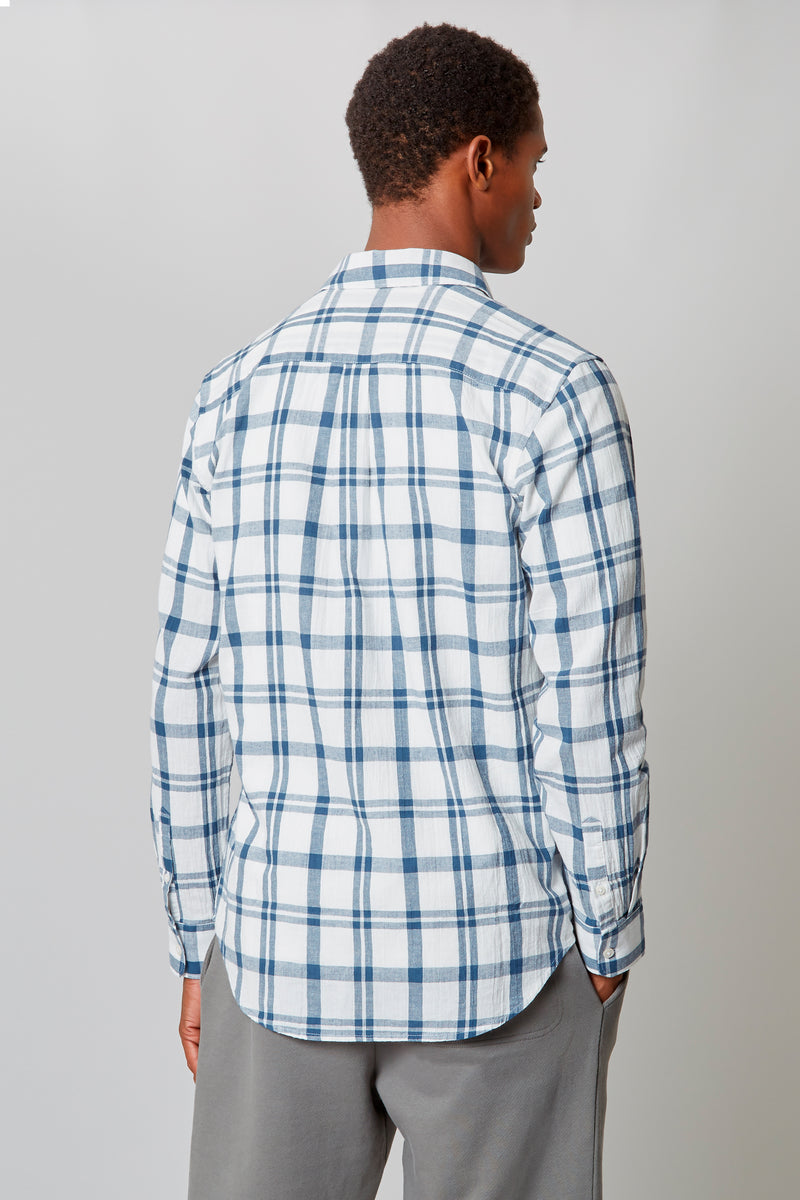 White/Ocean Crepe Windowpane Shirt
