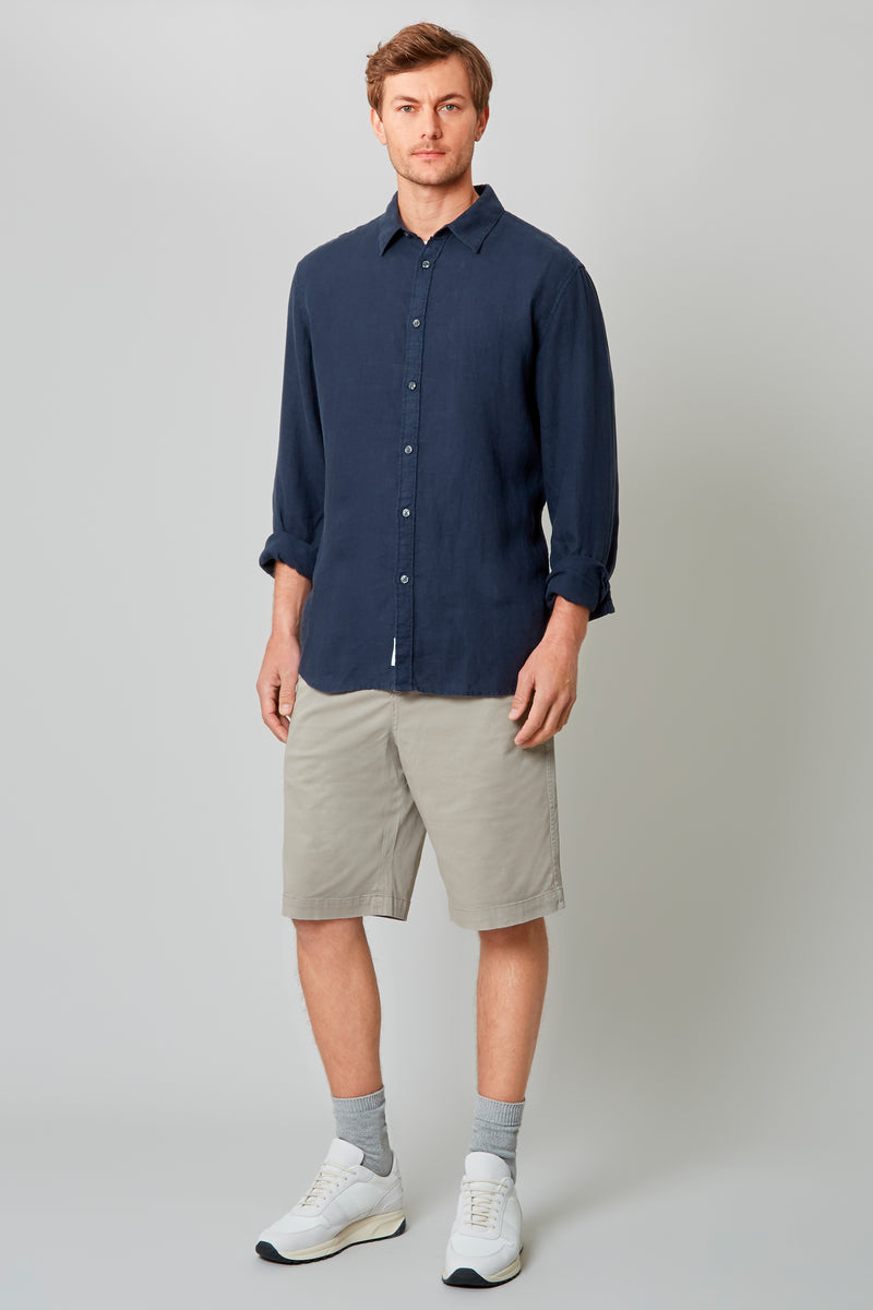 Navy Garment Dye Linen Placket Front Shirt