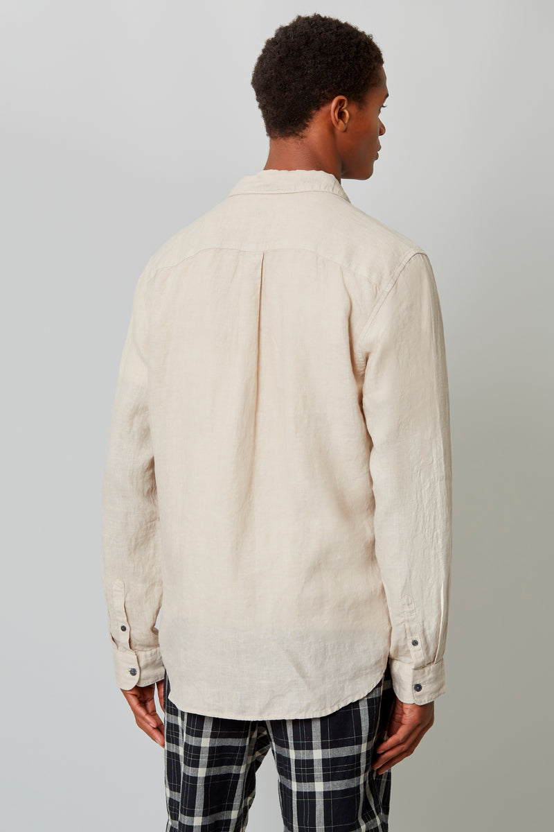 Sand Garment Dye Linen Placket Front Shirt