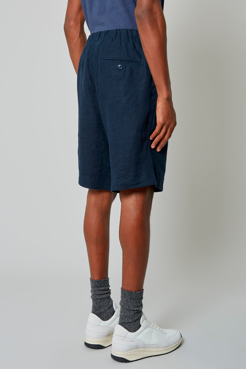 Navy Washed Linen Shorts