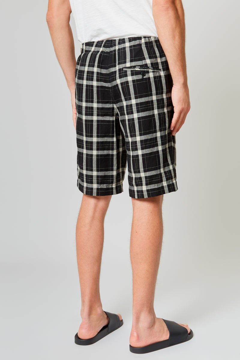 Black/Off White Check Linen Blend Shorts
