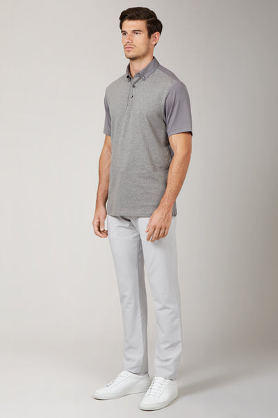 Grey Melange Pique-Jersey Mix Polo